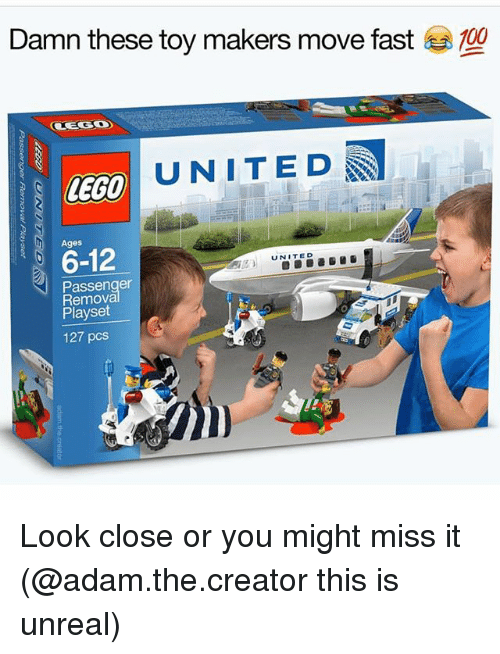 Anaconda, Funny, and Lego: Damn these toy makers move fast  100  UNITED  LEGO  6-12  UNITED  Passenger  Playset  127 pcs Look close or you might miss it (@adam.the.creator this is unreal)