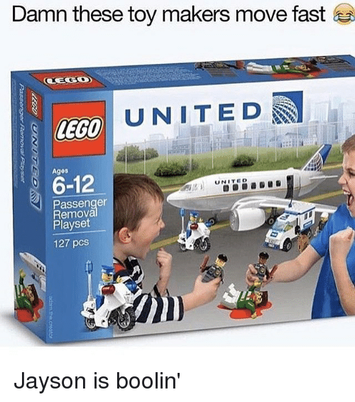 Memes, United, and 🤖: Damn these toy makers move fast  UNITED  6-12  UNITED  N Passenger  Removal  Playset  127 pcs Jayson is boolin'
