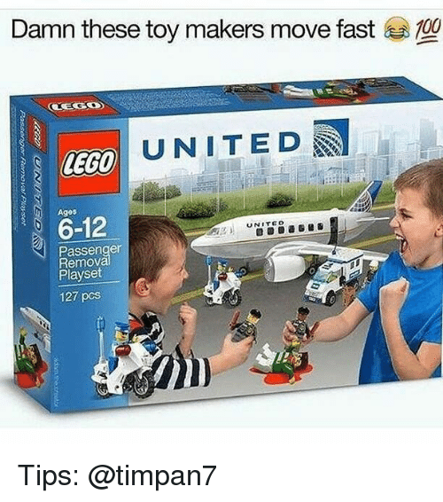 Lego, Memes, and United: Damn these toy makers move fast  UNITED  LEGO  Ages  6-12  UNITED  Passenger  Remova  Playset  127 pcs Tips: @timpan7