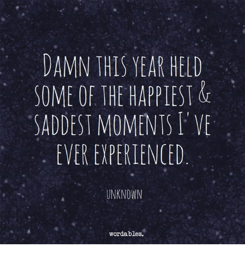 Unknown, This, and Damn: DAMN THIS YEAR HELD  SOME OF THE HAPPIEST&  SADDEST MOMENTS VE  EVER EXPERIENCED  UNKNOWN  wordables.