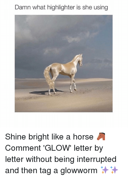 glow: Damn what highlighter is she using Shine bright like a horse 🐴 Comment 'GLOW' letter by letter without being interrupted and then tag a glowworm ✨✨