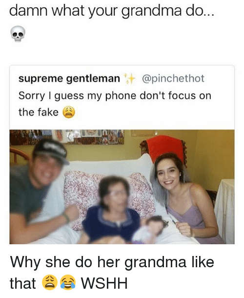 fakings: damn what your grandma do.  supreme gentleman @pinchethot  Sorry I guess my phone don't focus on  the fake Why she do her grandma like that 😩😂 WSHH
