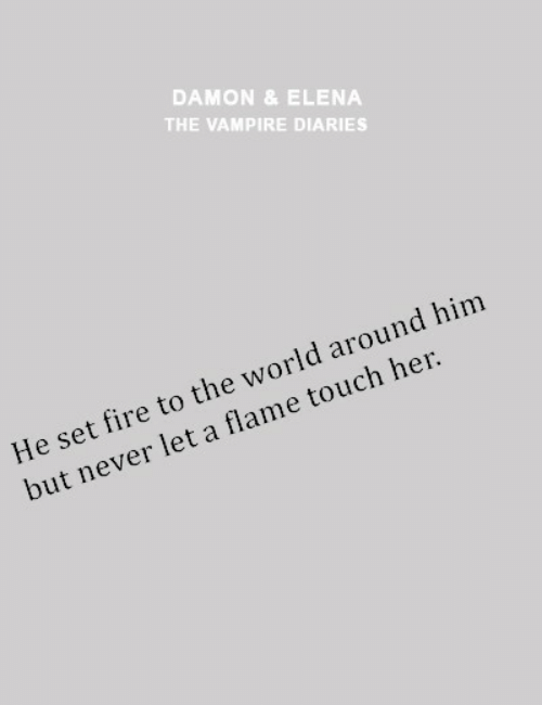 Damon: DAMON &ELENA  THE VAMPIRE DIARIES  He set fire to the world around him  but never let a flame touch her