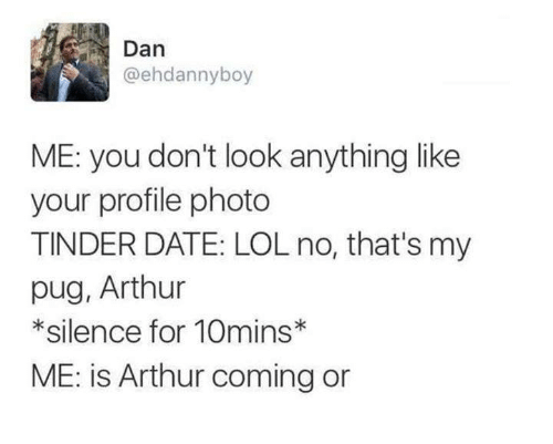 Arthur, Lol, and Tinder: Dan  @ehdannyboy  ME: you don't look anything like  your profile photo  TINDER DATE: LOL no, that's my  pug, Arthur  *silence for 10mins  ME: is Arthur coming or