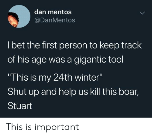 """Shut Up And: dan mentos  @DanMentos  l bet the first person to keep track  of his age was a gigantic tool  This is my 24th winter""""  Shut up and help us kill this boar,  Stuart This is important"""