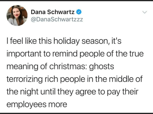 Meaning: Dana Schwartz  @DanaSchwartzzz  I feel like this holiday season, it's  important to remind people of the true  meaning of christmas: ghosts  terrorizing rich people in the middle of  the night until they agree to pay their  employees more