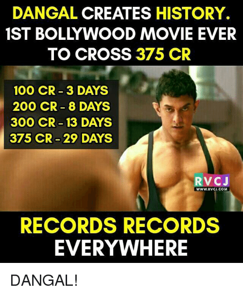 Memes, 300, and 🤖: DANGAL CREATES HISTORY.  TO CROSS 375 CR  100 CR 3 DAYS  200 CR 8 DAYS  300 CR 13 DAYS  375 CR-29 DAYS  V CJ  WWW RVCU.COM  RECORDS RECORDS  EVERYWHERE DANGAL!
