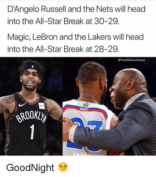 Nets: D'Angelo Russell and the Nets will head  into the All-Star Break at 30-29.  Magic, LeBron and the Lakers will head  into the All-Star Break at 28-29.  @TheNBANeverStops  nfor  EAST GoodNight 😏