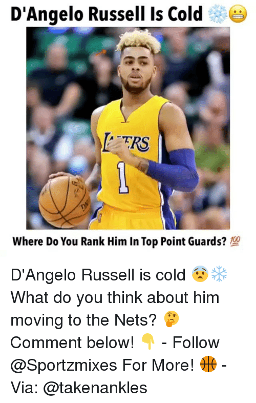 Memes, d'Angelo Russell, and Cold: D'Angelo Russell Is Cold  TRS  Where Do You Rank Him In Top Point Guards? D'Angelo Russell is cold 😨❄️ What do you think about him moving to the Nets? 🤔 Comment below! 👇 - Follow @Sportzmixes For More! 🏀 - Via: @takenankles