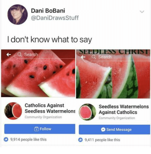 Dont Know What To Say: Dani BoBani  @DaniDrawsStuff  I don't know what to say  SEEDLESS CHKIS1  Search  earch  Catholics Against  Seedless Watermelons  Community Organization  Seedless Watermelons  Against Catholics  Community Organization  Follow  Send Message  9,914 people like this  O 9,411 people like this