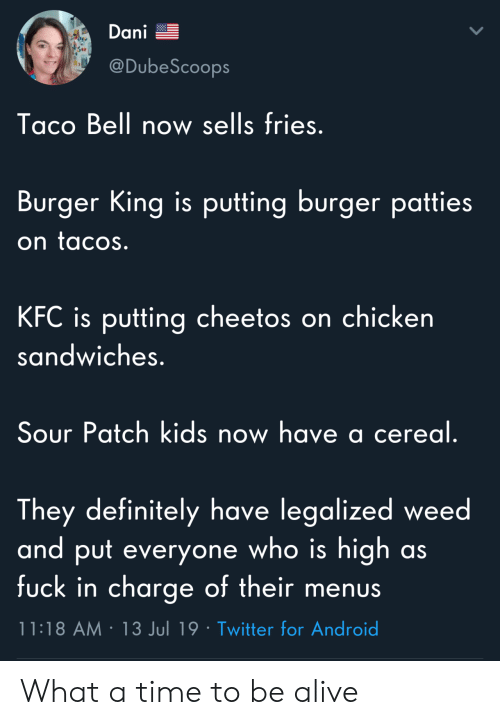 Burger King: Dani  @DubeScoops  Taco Bell now sells fries.  Burger King is putting burger patties  on tacos.  KFC is putting cheetos on chicken  sandwiches.  Sour Patch kids now have a cereal.  They definitely have legalized weed  and put everyone who is high  fuck in charge of their menus  as  11:18 AM 13 Jul 19 Twitter for Android What a time to be alive