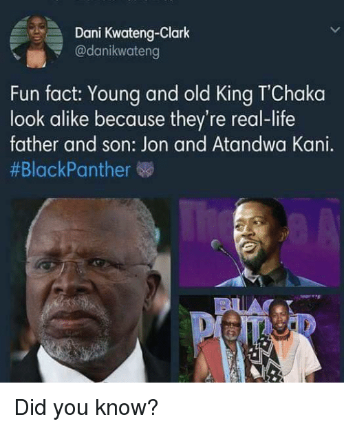 Life, Old, and Fun: Dani Kwateng-Clark  @danikwateng  i  Fun fact: Young and old King TChaka  look alike because they're real-life  father and son: Jon and Atandwa Kani.  <p>Did you know?</p>