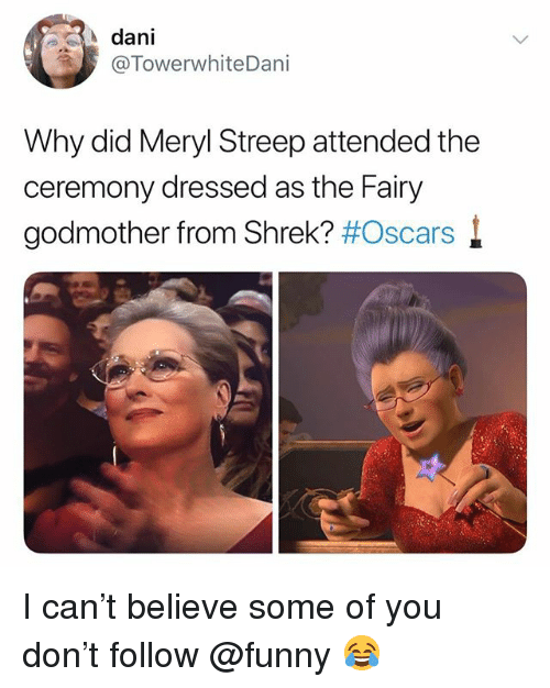 Meryl Streep: dani  @TowerwhiteDani  Why did Meryl Streep attended the  ceremony dressed as the Fairy  godmother from Shrek? I can't believe some of you don't follow @funny 😂