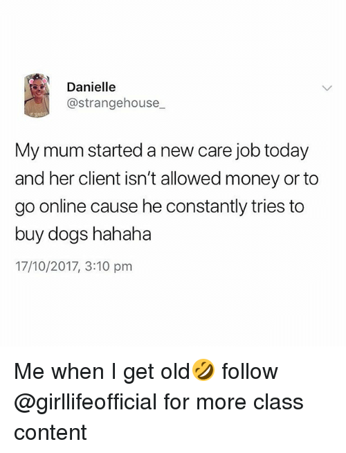 Dogs, Money, and Today: Danielle  @strangehouse_  My mum started a new care job today  and her client isn't allowed money or to  go online cause he constantly tries to  buy dogs hahaha  17/10/2017, 3:10 pm Me when I get old🤣 follow @girllifeofficial for more class content