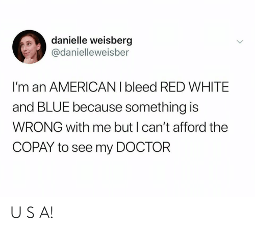 danielle: danielle weisberg  @danielleweisber  I'm an AMERICAN I bleed RED WHITE  and BLUE because something is  WRONG with me but I can't afford the  COPAY to see my DOCTOR U S A!