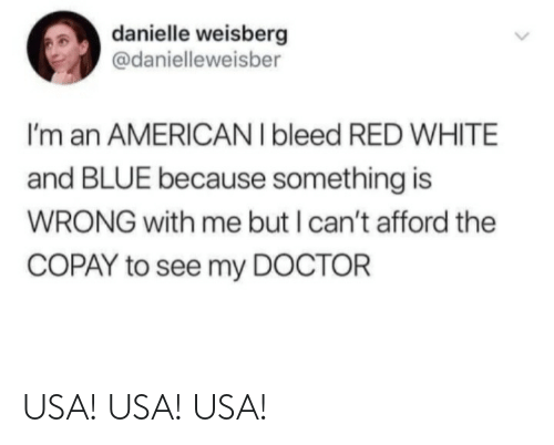 danielle: danielle weisberg  @danielleweisber  I'm an AMERICAN I bleed RED WHITE  and BLUE because something is  WRONG with me but I can't afford the  COPAY to see my DOCTOR USA! USA! USA!