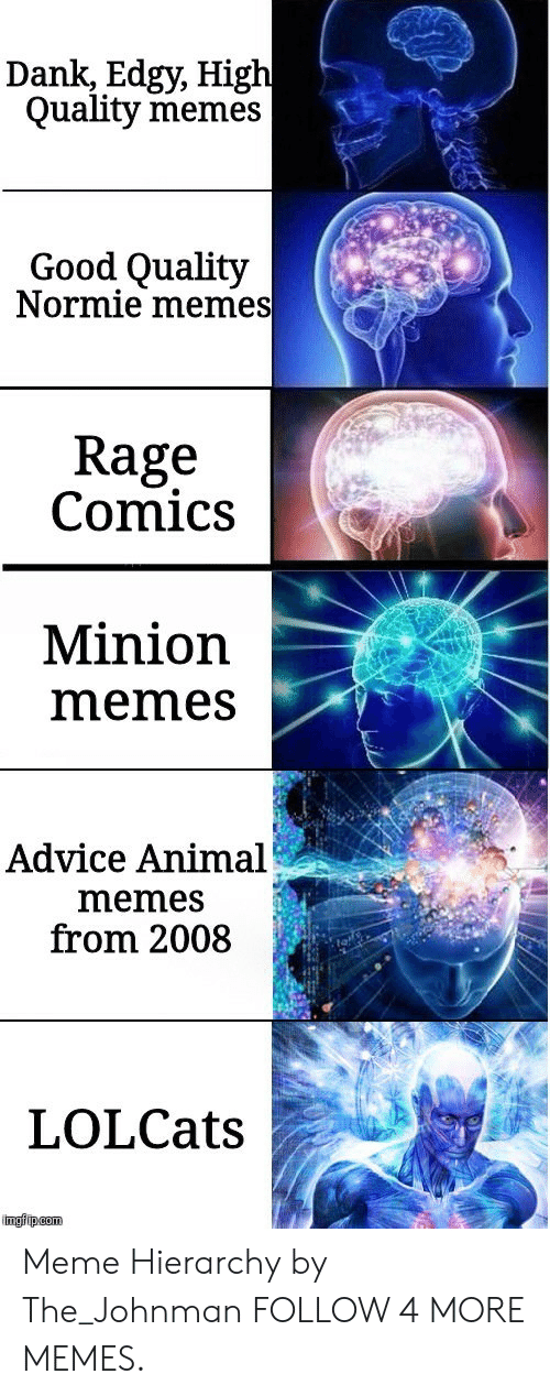 Good Quality: Dank, Edgy, High  Quality memes  Good Quality  Normie memes  Rage  Comics  Minion  memes  Advice Animal  memes  from 2008  LOLCats  imgfip com Meme Hierarchy by The_Johnman FOLLOW 4 MORE MEMES.