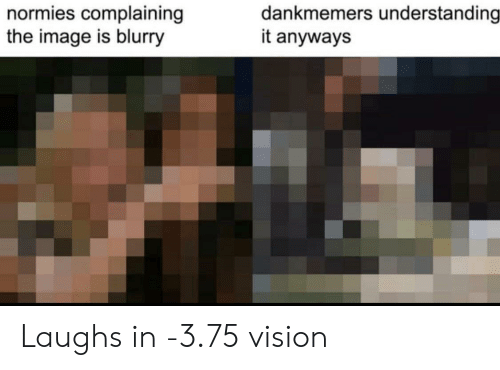 blurry: dankmemers understanding  it anyways  normies complaining  the image is blurry Laughs in -3.75 vision