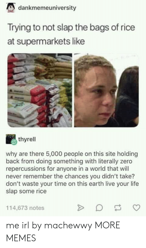 dont waste your time: dankmemeuniversity  Trying to not slap the bags of rice  at supermarkets like  thyrell  why are there 5,000 people on this site holding  back from doing something with literally zero  repercussions for anyone in a world that will  never remember the chances you didn't take?  don't waste your time on this earth live your life  slap some rice  114,673 notes me irl by machewwy MORE MEMES