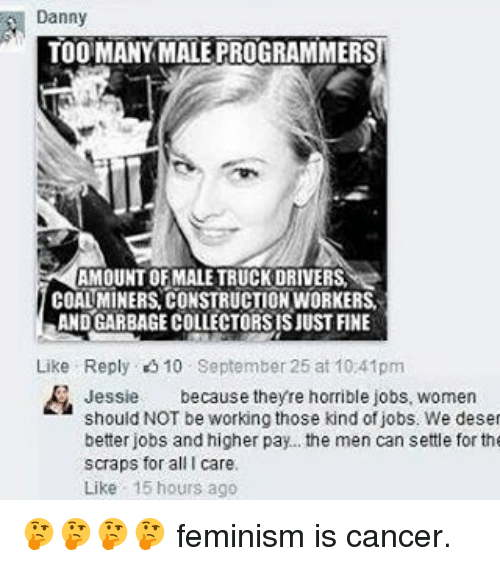 Feminism, Memes, and Cancer: Danny  TOO MANY MALE PROGRAMMERS  AMOUNT OF MALE TRUCKDRIVERSI  COALMINERS CONSTRUCTIONWORKERS.  ANDGARBAGECOLLECTORSISJUST FINE  Like Reply 10 September 25 at 10 41pm  Jessie  because theyre horrible jobs, women  should NOT be working those kind of jobs. We deset  better jobs and higher pay... the men can settle for the  scraps for all I care.  Like 15 hours ago 🤔🤔🤔🤔 feminism is cancer.