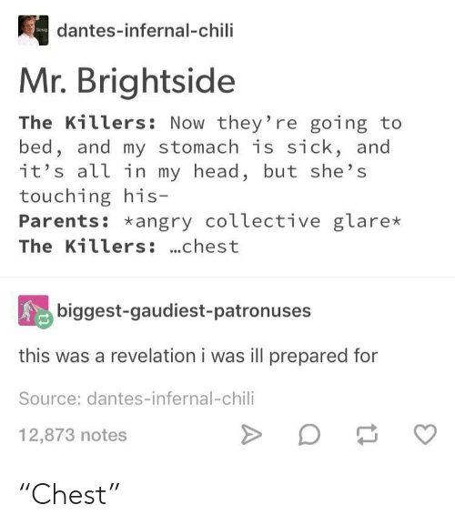 """the killers: dantes-infernal-chili  Mr. Brightside  The Killers: Now they're going to  bed, and my stomach is sick, and  it's all in my head, but she's  touching his  Parents: *angry coLlective glare*  The Killers: ...chest  biggest-gaudiest-patronuses  this was a revelation i was ill prepared for  Source: dantes-infernal-chili  12,873 notes """"Chest"""""""