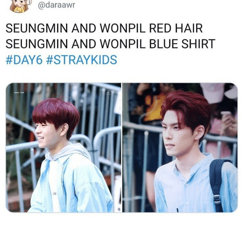 red hair: @daraawn  SEUNGMIN AND WONPIL RED HAIR  SEUNGMIN AND WONPIL BLUE SHIRT