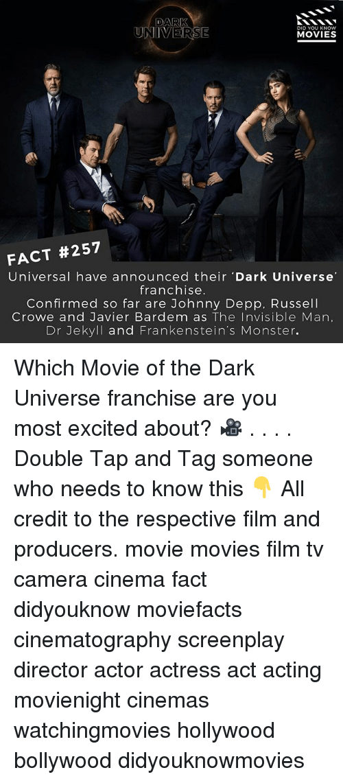 Johnny Depp, Memes, and Monster: DARK  UNIVERSE  DID YOU KNOW  MOVIES  FACT #257  Universal have announced their Dark Universe  franchise.  Confirmed so far are Johnny Depp, Russell  Crowe and Javier Bardem as The Invisible Man,  Dr Jekyll and Frankenstein's Monster. Which Movie of the Dark Universe franchise are you most excited about? 🎥 . . . . Double Tap and Tag someone who needs to know this 👇 All credit to the respective film and producers. movie movies film tv camera cinema fact didyouknow moviefacts cinematography screenplay director actor actress act acting movienight cinemas watchingmovies hollywood bollywood didyouknowmovies