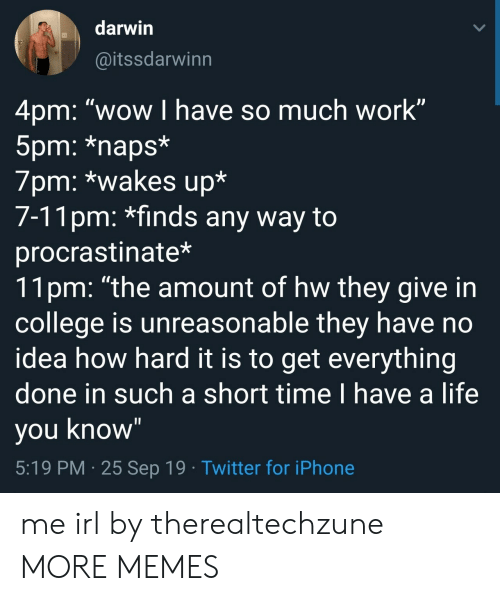 "Naps: darwin  @itssdarwinn  4pm: ""wow I have so much work""  5pm: *naps*  7pm: *wakes up*  7-11pm: *finds any way to  procrastinate*  11pm: ""the amount of hw they give in  college is unreasonable they have no  idea how hard it is to get everything  done in such a short time I have a life  you know""  5:19 PM 25 Sep 19 Twitter for iPhone me irl by therealtechzune MORE MEMES"
