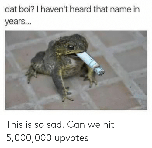 Dat Boi: dat boi? I haven't heard that name in  years... This is so sad. Can we hit 5,000,000 upvotes