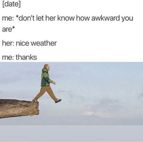 date me: [date]  me: *don't let her know how awkward you  are  her: nice weather  me: thanks