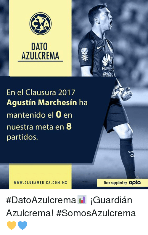 America, Club, and Data: DATO  AZULCREMA  En el Clausura 2017  Agustin Marchesin ha  mantenido el 0 en  nuestra meta en 8  partidos.  WWW. CLUB AMERICA. CO M.MX  HUANE  Data supplied by opta #DatoAzulcrema📊 ¡Guardián Azulcrema!  #SomosAzulcrema💛💙