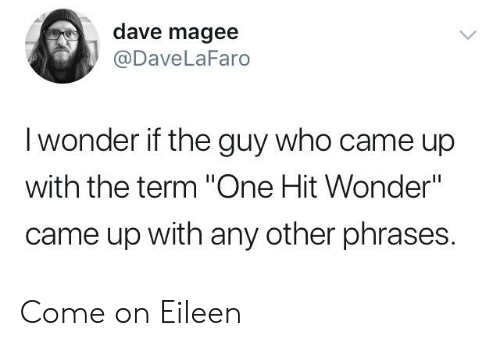 "come on eileen: dave magee  @DaveLaFaro  I wonder if the guy who came up  with the term ""One Hit Wonder""  came up with any other phrases. Come on Eileen"