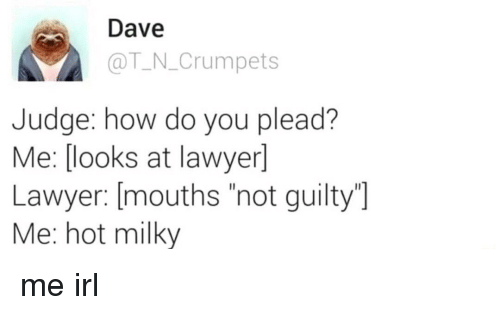 """plead: Dave  @T N.Crumpets  Judge: how do you plead?  Me: [ooks at lawyer]  Lawyer: [mouths """"not guilty  Me: hot milky me irl"""
