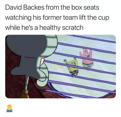 Backes: David Backes from the box seats  watching his former team lift the cup  while he's a healthy scratch 🤷♂️
