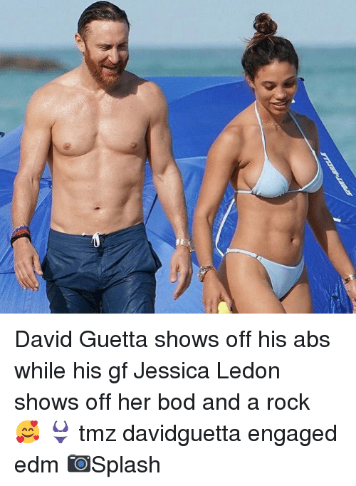 EDM: David Guetta shows off his abs while his gf Jessica Ledon shows off her bod and a rock 🥰 👙 tmz davidguetta engaged edm 📷Splash