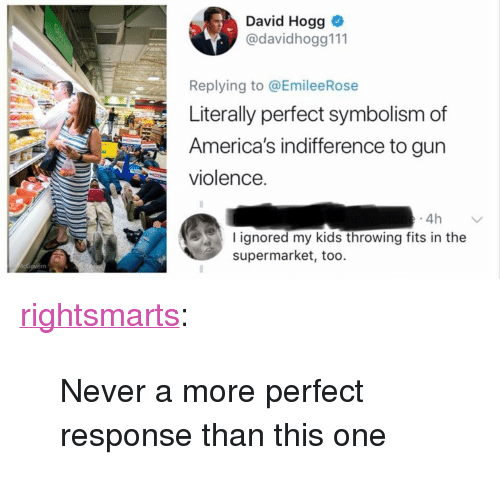 "symbolism: David Hogg  @davidhogg111  Replying to @EmileeRose  Literally perfect symbolism of  America's indifference to gun  violence.  4h  I ignored my kids throwing fits in the  supermarket, too. <p><a href=""https://rightsmarts.tumblr.com/post/174300824915/never-a-more-perfect-response-than-this-one"" class=""tumblr_blog"">rightsmarts</a>:</p><blockquote><p>Never a more perfect response than this one</p></blockquote>"