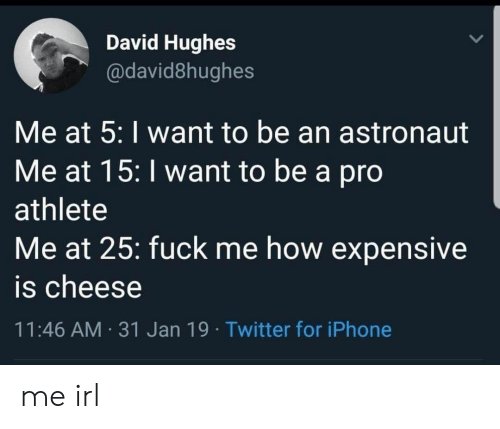 Iphone, Twitter, and Pro: David Hughes  @david8hughes  Me at 5: I want to be an astronaut  Me at 15: I want to be a pro  athlete  Me at 25: fuck me how expensive  is cheese  11:46 AM 31 Jan 19 Twitter for iPhone me irl