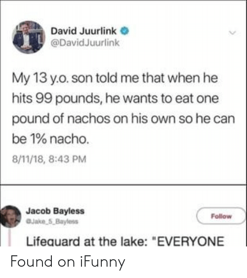 "jacob: David Juurlink  @DavidJuurlink  My 13 y.o. son told me that when he  hits 99 pounds, he wants to eat one  pound of nachos on his own so he can  be 1% nacho.  8/11/18, 8:43 PM  Jacob Bayless  Jake 5,Bayless  Follow  Lifequard at the lake: ""EVERYONE Found on iFunny"