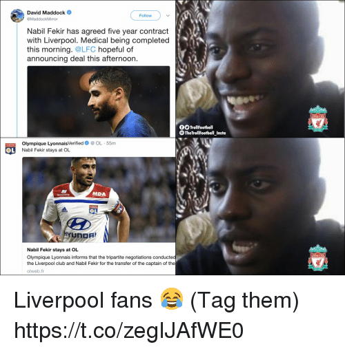 Club, Memes, and Liverpool F.C.: David Maddock  Follow  @MaddockMirror  Nabil Fekir has agreed five vear contract  with Liverpool. Medical being completed  this morning. @LFC hopeful of  announcing deal this afternoon.  LIVERPOOL  TrollFootball  TheTrollFootball Insta  Olympique LyonnaisVerifiedOL 55m  Nabil Fekir stays at OL  MDA  OL  Nabil Fekir stays at OL  Olympique Lyonnais informs that the tripartite negotiations conducted  the Liverpool club and Nabil Fekir for the transfer of the captain of the  olweb.fr  LIVERPOOL Liverpool fans 😂 (Tag them) https://t.co/zegIJAfWE0