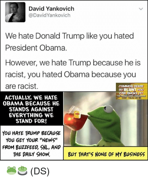 """Donald Trump, Memes, and News: David Yankovich  David Yankovich  We hate Donald Trump like you hated  President Obama.  However, we hate Trump because he is  racist, you hated Obama because you  are racist.  COMMON SENSE  SO BLUNT YOU  ACTUALLY WE HATE  DONT TREAD  OBAMA BECAUSE HE  STANDS AGAINST  EVERYTHING WE  STAND FOR!  You HATE TRUMP BECAUSE  You GET YOUR """"NEWS""""  FROM BuzzFEED, SNL, AND  THE DAILY SHOW.  BUT THAT'S NONE OF MY BusINESS 🐸🍵 (DS)"""