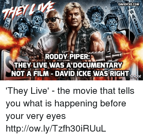 Roddy Piper: DAVIDICKE.COM  RODDY PIPER  THEY LIVE WAS A DOCUMENTARY  NOT A FILM DAVID ICKE WAS RIGHT 'They Live' - the movie that tells you what is happening before your very eyes http://ow.ly/Tzfh30iRUuL