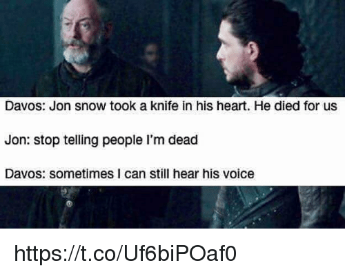Memes, Jon Snow, and Heart: Davos: Jon snow took a knife in his heart. He died for usS  Jon: stop telling people I'm dead  Davos: sometimes I can still hear his voice https://t.co/Uf6biPOaf0