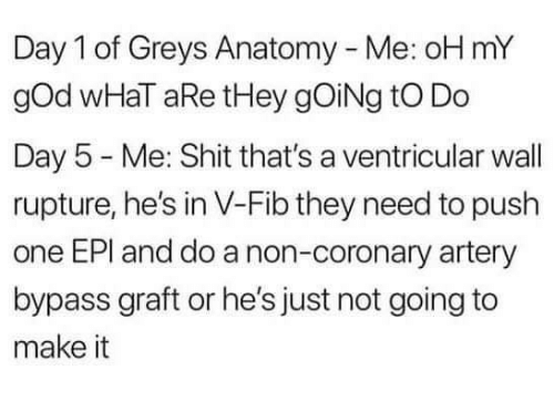 greys: Day 1 of Greys Anatomy - Me: oH mY  gOd wHaT aRe tHey gOiNg tO Do  Day 5 Me: Shit that's a ventricular wall  rupture, he's in V-Fib they need to push  one EPI and do a non-coronary artery  bypass graft or he's just not going to  make it