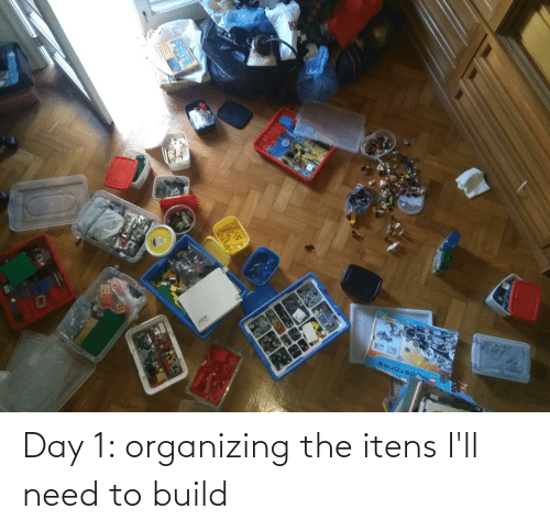 Organizing: Day 1: organizing the itens I'll need to build