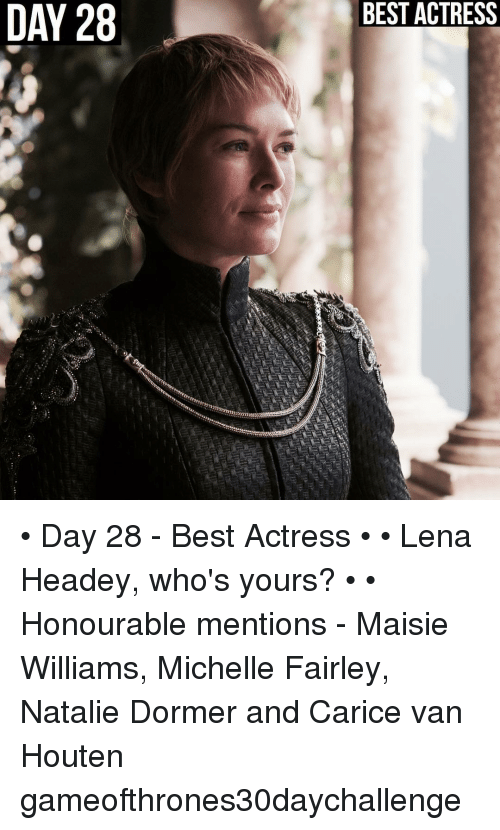 Lena Headey: DAY 28  BEST ACTRESS • Day 28 - Best Actress • • Lena Headey, who's yours? • • Honourable mentions - Maisie Williams, Michelle Fairley, Natalie Dormer and Carice van Houten gameofthrones30daychallenge