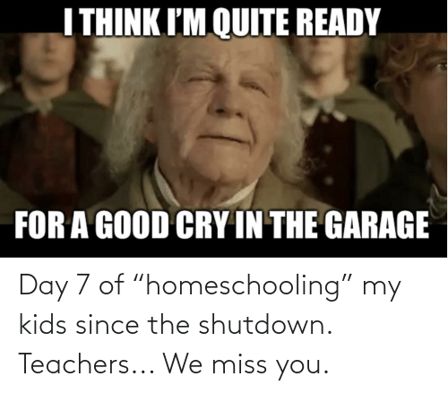 """We Miss You: Day 7 of """"homeschooling"""" my kids since the shutdown. Teachers... We miss you."""