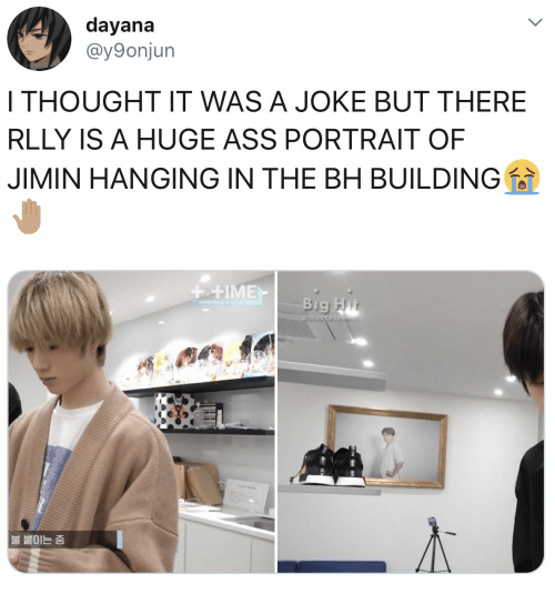 jimin: dayana  @y9onjun  I THOUGHT IT WAS A JOKE BUT THERE  RLLY IS A HUGE ASS PORTRAIT OF  JIMIN HANGING IN THE BH BUILDING  ++IME  Big Hit  +OMORRONX 40THE  Entertainge  |불 붙이는 중