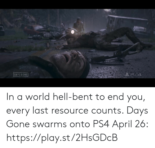 bent: DAYS BONE In a world hell-bent to end you, every last resource counts. Days Gone swarms onto PS4 April 26: https://play.st/2HsGDcB