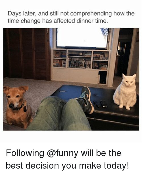 Funny, Best, and Time: Days later, and still not comprehending how the  time change has affected dinner time. Following @funny will be the best decision you make today!