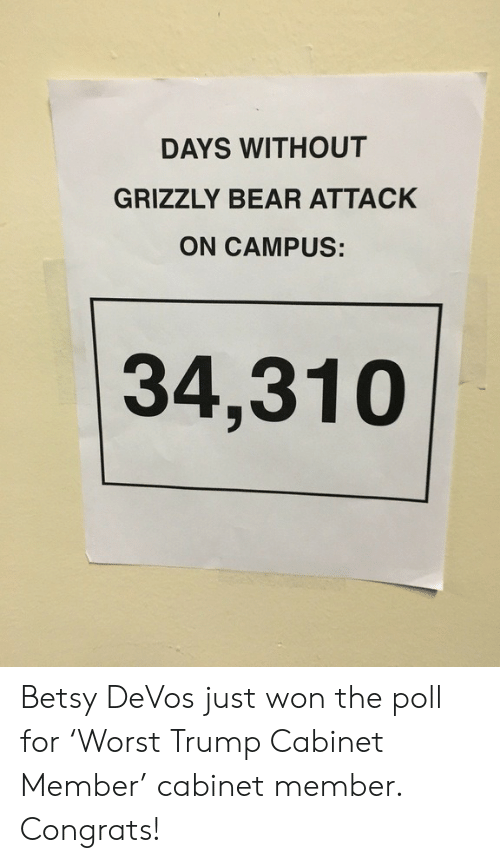 Betsy Devos: DAYS WITHOUT  GRIZZLY BEAR ATTACK  ON CAMPUS:  34,310 Betsy DeVos just won the poll for 'Worst Trump Cabinet Member' cabinet member. Congrats!
